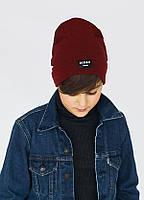 Лаконичная шапка Френд микс (черный и бордовый)