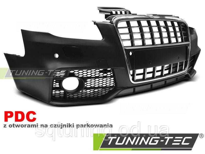 Бампер передний AUDI A4 04-08 S-LINE CHROME BLACK PDC