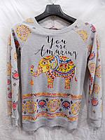 Батник женский весна-осень Слоны (размер универсал 42/46) (цвет серый) Турция СП