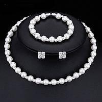 Весільний набір з перлами ювелірна біжутерія сріблення 4733с
