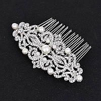 Весільний гребінь з перлами ювелірна біжутерія сріблення 4773с