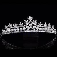 Свадебная диадема, корона, тиара на голову для невесты с жемчугом посеребрение 4755с
