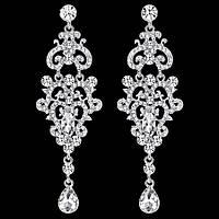 Сережки вечірні, весільні ювелірна біжутерія сріблення 4779с-а, фото 1