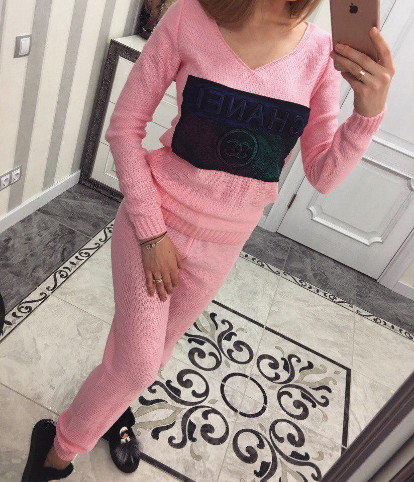 Вязаный спортивный костюм Вероника розовый