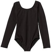 Качественный классический черный купальник для танцев гимнастики  DONO Турция хлопок  4-6, 6-8 лет