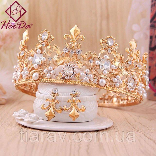 Диадема высокая тиара корона и серьги АЗАРИКА иле Dolce&Gabbana украшения