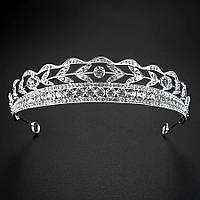Свадебная диадема ювелирная бижутерия посеребрение 4783с