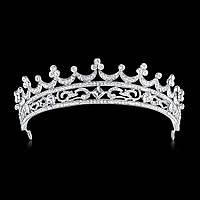 Свадебная диадема, корона, тиара на голову для невесты посеребрение 4784с