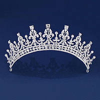 Свадебная диадема, корона, тиара на голову для невесты посеребрение 4788с-а