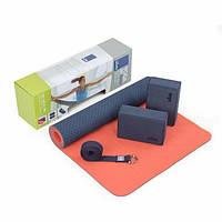 Набор для йоги (коврик TPE, 2 йога-блока из пены, хлопковый ремень для йоги) Bodhi Flow