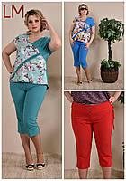 Капри женские 77012 от 42 по 74 размер батал большого размера зеленые красные синий летние
