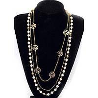 Ожерелье из жемчуга ювелирная бижутерия позолоченное 3546