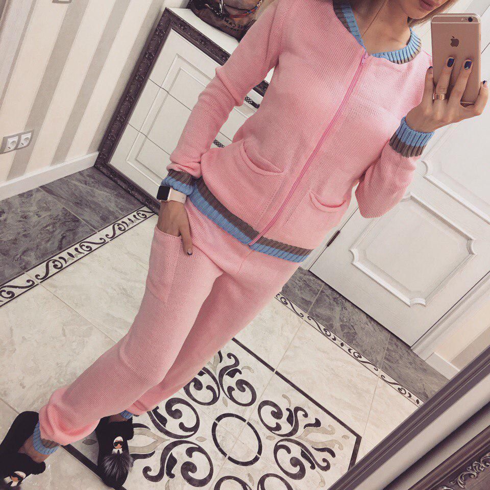 Вязаный спортивный костюм Полоски розовый