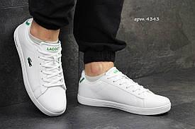 Мужские кроссовки Lacoste белые кожа / кеды лакоста