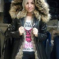 Молодежная куртка с мехом енота отстегивается на жилет.