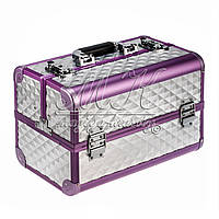 """Профессиональный алюминиевый кейс для косметики """"Exclusive Series Diamonds"""" серебристый с фиолетовым ободком"""