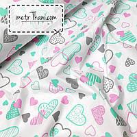 Ткань с сердцами розовыми, мятными и серыми на белом№932