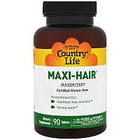 Country Life, Maxi Hair, 90 таблеток, Витамины для волос, кожи и ногтей. сделано в США