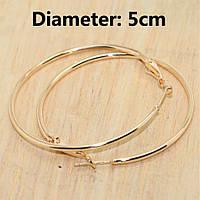 Серьги кольца ф 5 см ювелирная бижутерия позолота 1569-б