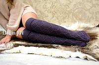 Сиреневые женские зимние вязаные гетры с носком
