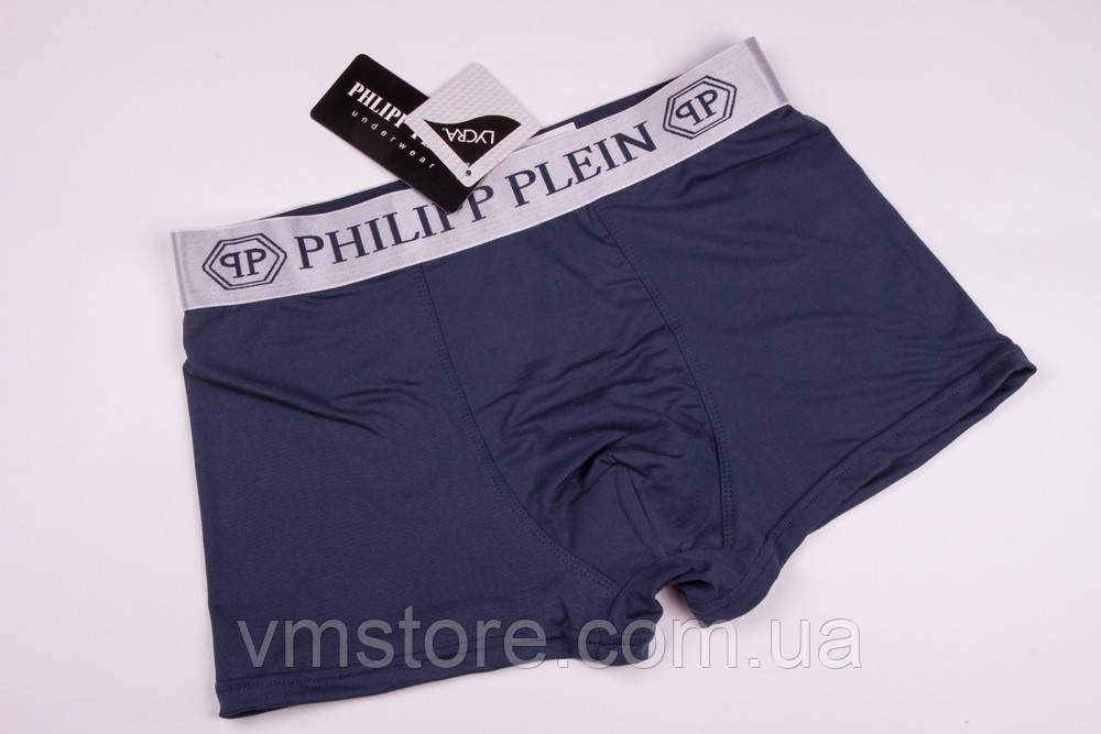 Трусы мужские в стиле бренда Philipp Plein, серый, L (48)