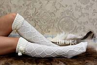 Белые женские вязаные гетры с носком с помпонами