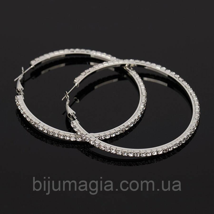 Серьги кольца ф 5,8 см ювелирная бижутерия посеребрение 1573