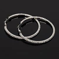 Серьги кольца ф 5,8 см ювелирная бижутерия посеребрение 1573, фото 1