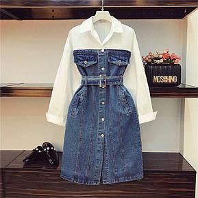 Платье джинсовое комбинированное с хлопком, фото 2