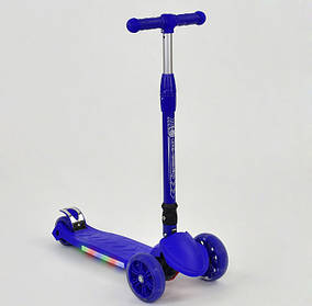 Детский трехколесный самокат Scooter A 24735/ 881-5 L Синий. Подсветка платформы и колес. Нагрузка 100 кг