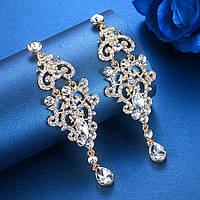 Серьги вечерние, свадебные ювелирная бижутерия позолота 4779в-б