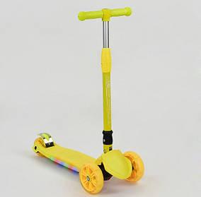 Детский трехколесный самокат Scooter 881-6 L Желтый. Подсветка платформы и колес. Нагрузка 100 кг