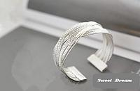 Хит продаж! Посеребренный браслет для женщин, ювелирное изделие, браслет манжет, цвет - серебро