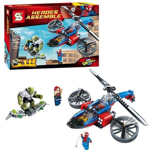 Конструктор SY 315 Супергерои Heroes Вертолёт Человека-Паука 327дет