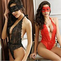 Женское эротическое белье красное комплект с маской 11129-а