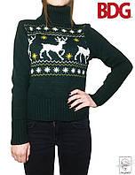 Женский зимний свитер с оленями зеленый BDG р. S 42 44