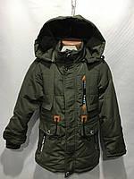 Куртка парка детская демисезонная6-10лет,оливкового цвета