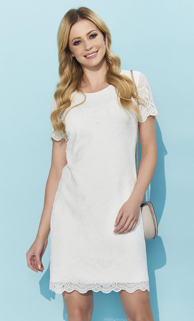 299fbadafb8 Купить Летнее кружевное платье с коротким рукавом цвета экри. Модель ...