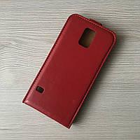 Чехлы-книжечка бардовый под кожу к Samsung Galaxy S5 G900H, фото 1