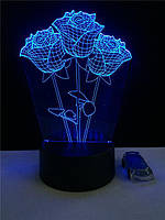 """LED ночник / светильник """"Розы"""". Меняет 7 цветов"""