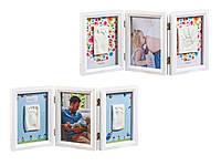 Рамочка Baby Art Тройная с отпечатками ручки и ножки малыша Белая двухсторонняя