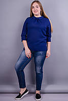 Кортни. Женская блузка супер батал. Синий. 62