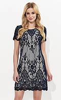 Летнее кружевное платье с коротким рукавом темно-синего цвета. Модель Ariel Zaps, коллекция весна-лето 2018