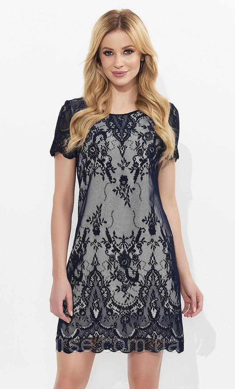 357343c0b11 Летнее кружевное платье с коротким рукавом темно-синего цвета. Модель Ariel  Zaps