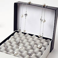 Ожерелье из жемчуга ювелирная бижутерия покрытие серебро 3545-б