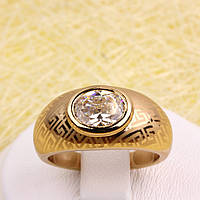 R1-2824 - Позолоченное кольцо с прозрачным фианитом и лазерной гравировкой, 17, 18 р