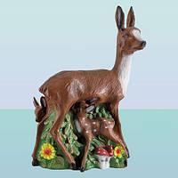 Садовая фигура, скульптура для сада Олениха с олененком