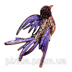 Брошь птичка лиловая  глазурь фианиты