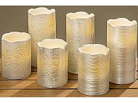 Светодиодная свеча серебристый воск h 10d 7.5см арт 8323800