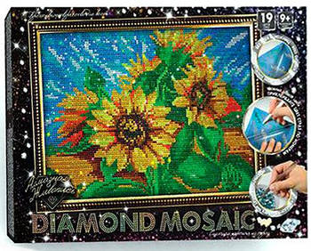 Набор для творчества DankoToys DT DM-02-02 Diamond mosaic А4 Картина из страз Подсолнухи